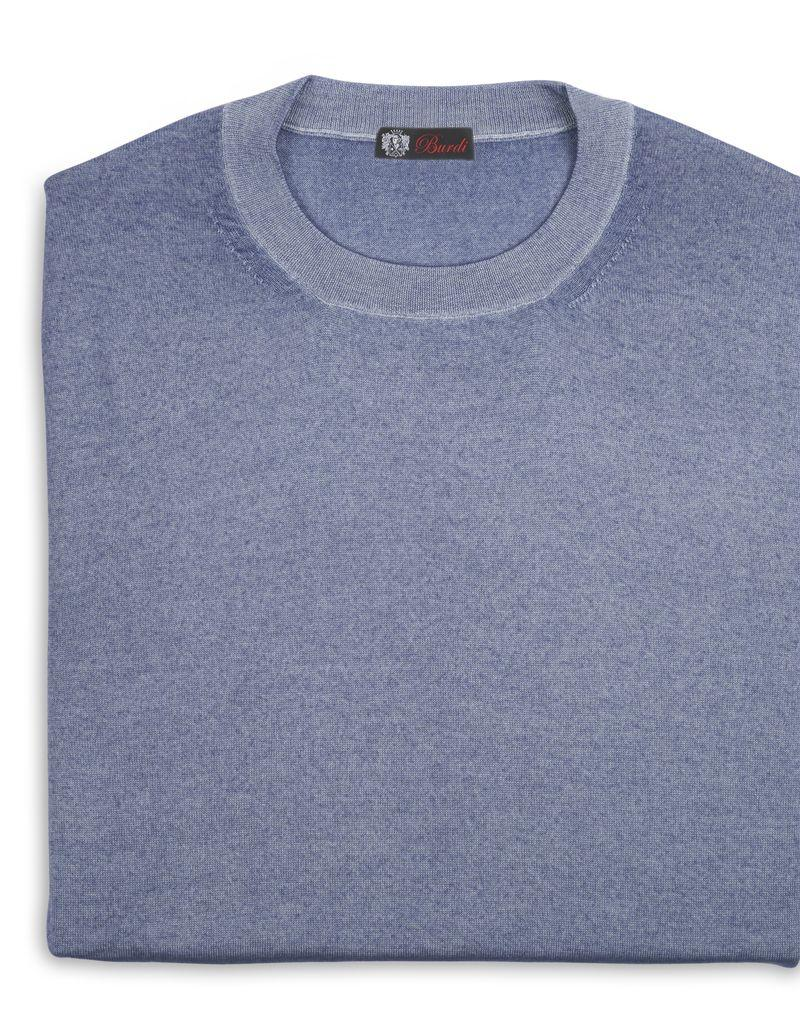 Cashmere / Silk Crew Neck Sweater, Lt. Blue