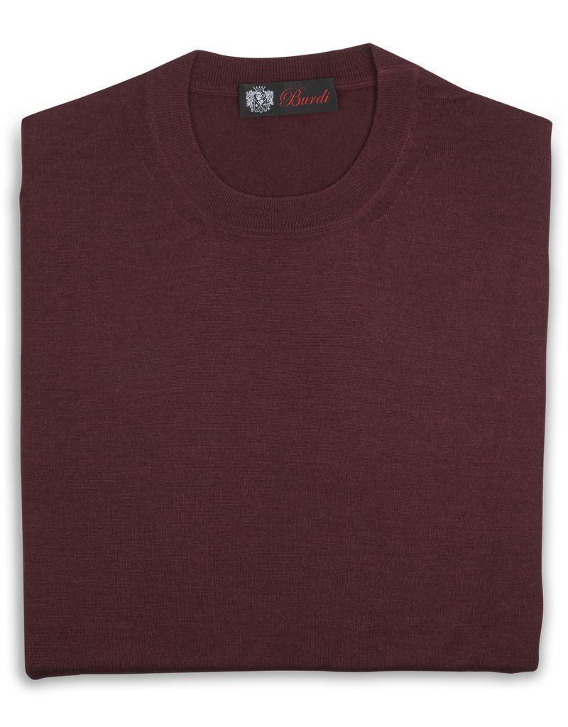 Cashmere / Silk Crew Neck Sweater, Burgundy