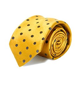 Mustard Silk Tie with Black Dot Pattern - Specialty Size Slim Knot