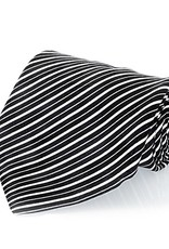 Black & White Stripe Seven Fold Silk Tie
