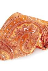 Orange Paisley Seven Fold Silk Tie