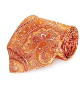 Orange Paisley Seven Fold Silk Tie