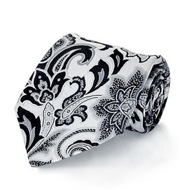 Silver & Charcoal Paisley Seven Fold Silk Tie