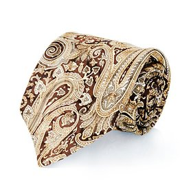 Brown & Gold Paisley Seven Fold Silk Tie