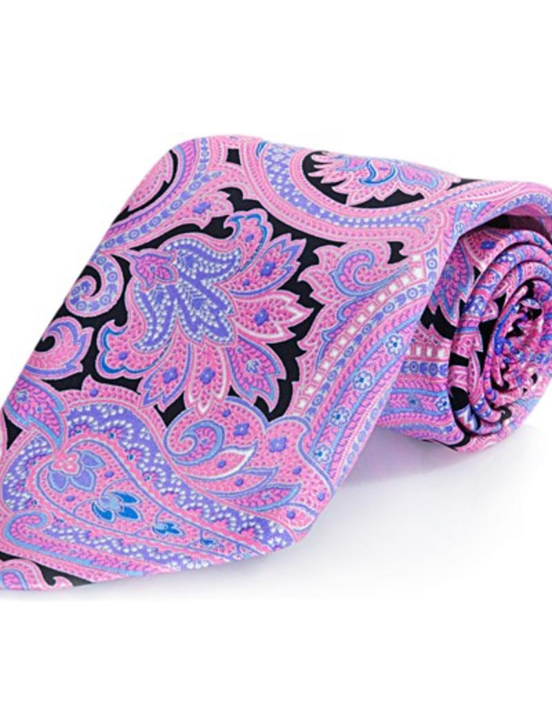 Black & Pink Paisley Seven Fold Silk Tie
