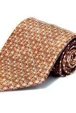 Brown Disk Pattern Silk Tie - XL Size (170 cm)