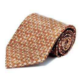 Brown Disk Pattern Silk Tie - XL Size (170 cm)