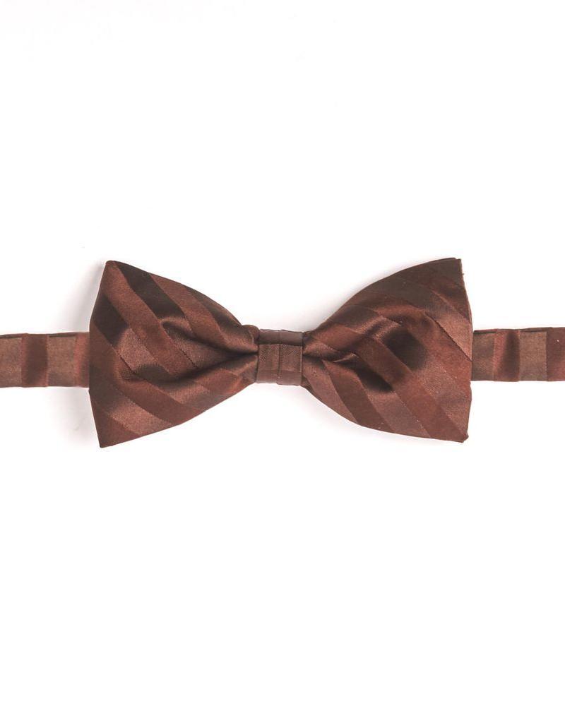 Woven Brown Stripe Silk Bow Tie,  Pre-tied