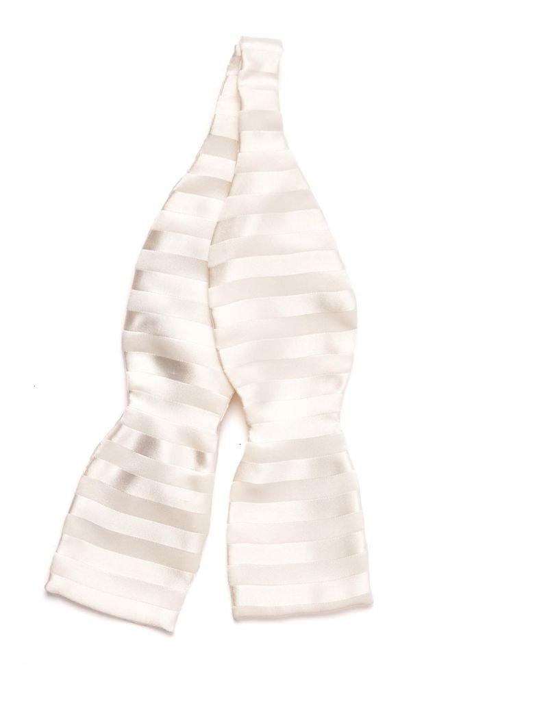 White Woven Stripe Silk Bow Tie, Self-tie