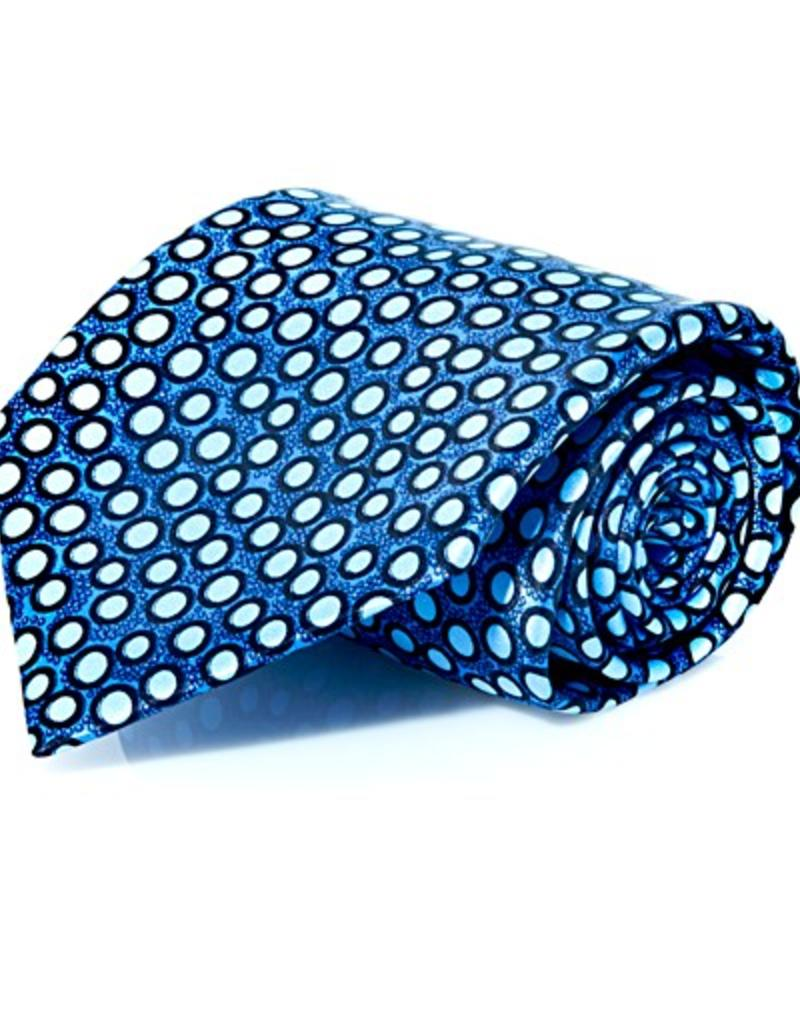Blue Dots Pattern Silk Tie - XL Size (170 cm)