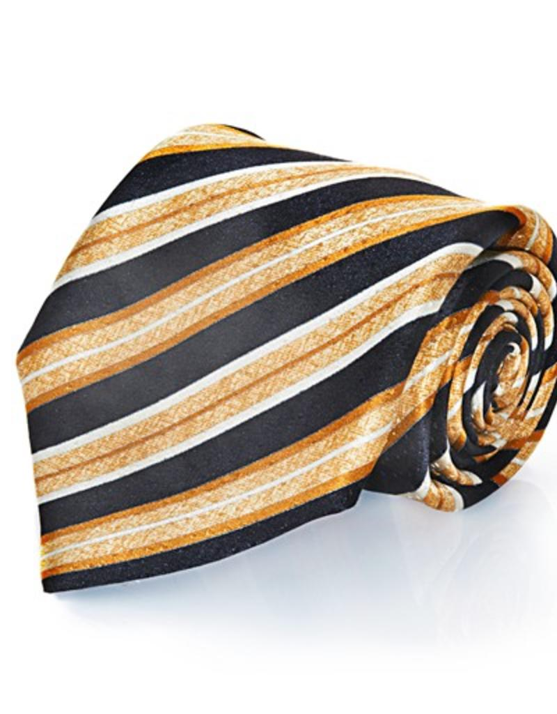 Black & Gold Stripe Seven Fold Silk Tie