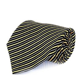 Black & Yellow Stripe Seven Fold Silk Tie