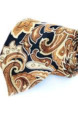 Black & Gold Paisley Seven Fold Silk Tie