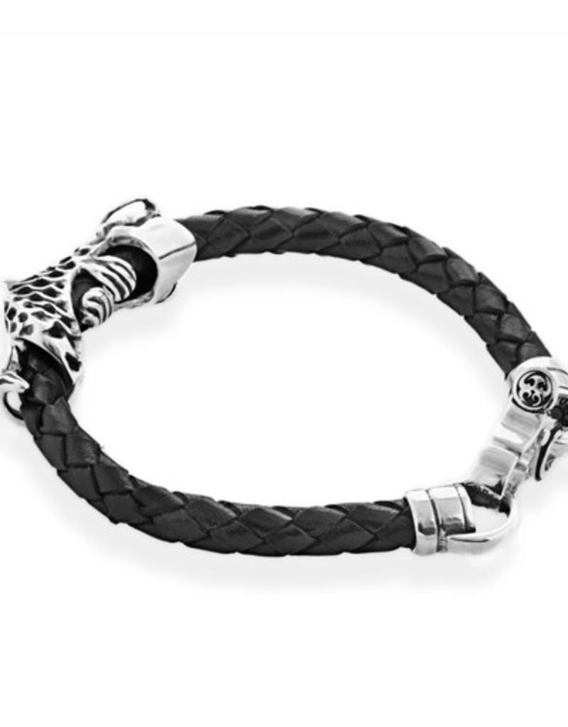 Stering Silver and braided leather Koi fish Bracelet
