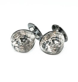 Faceted crystal silver cufflinks