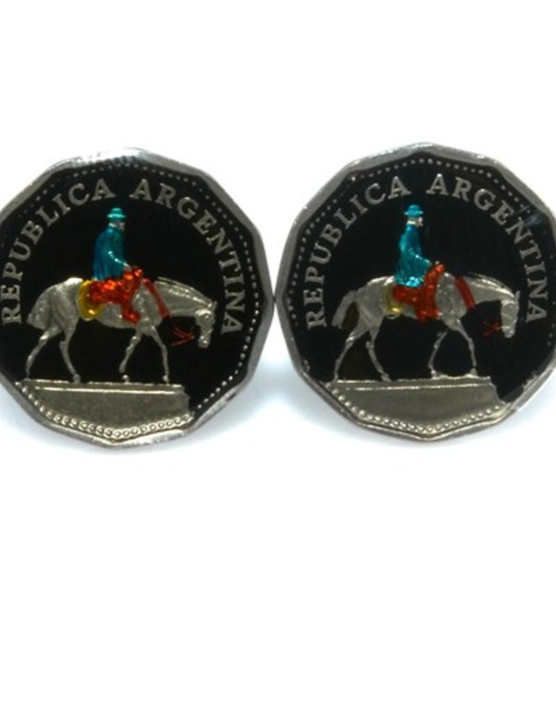 Hand Enameled Coin Cufflinks - Argentina rider