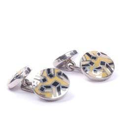 Yellow & Black Enamel Cufflinks