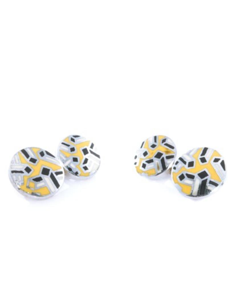 Yellow & Black Enamel Cufflinks