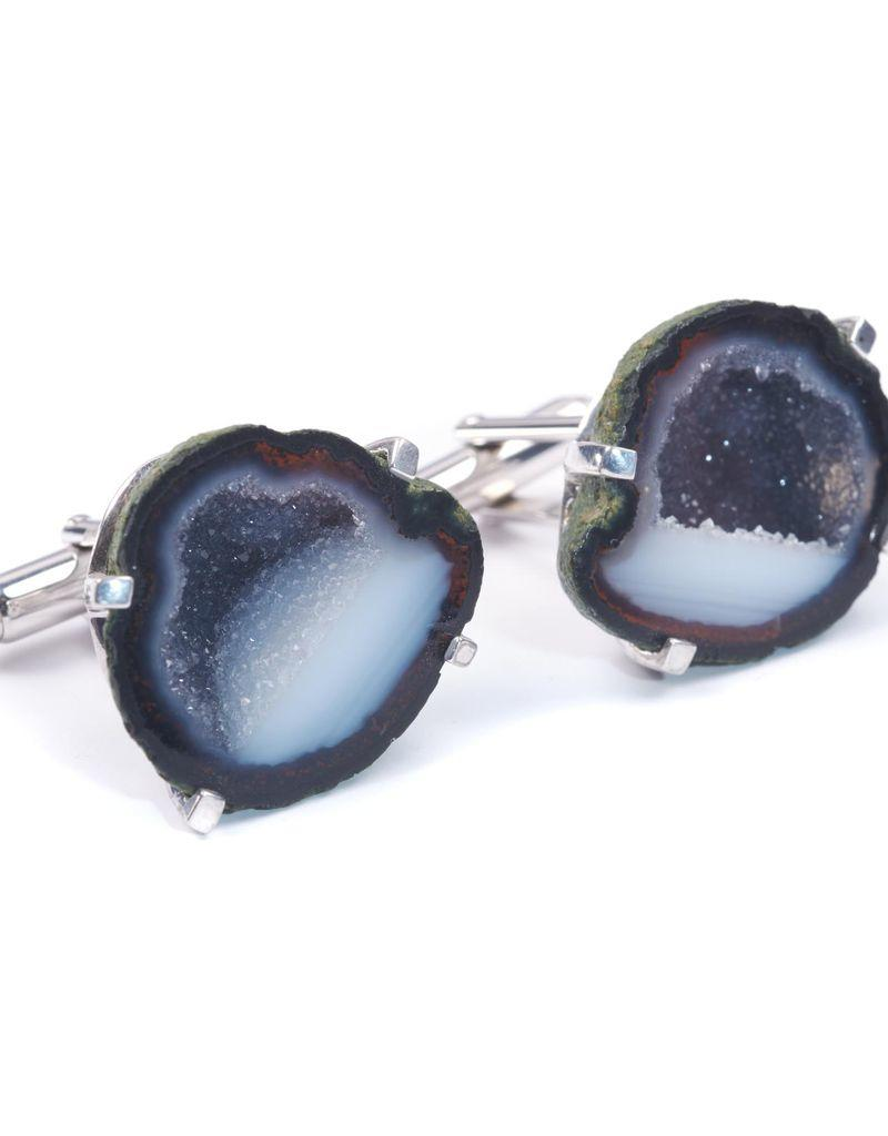 Geode Cufflinks in White Bronze