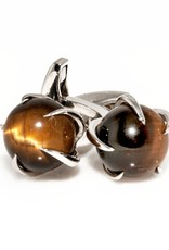 Tiger Eye Ball set in 925 Sterling Silver Claw Cufflinks