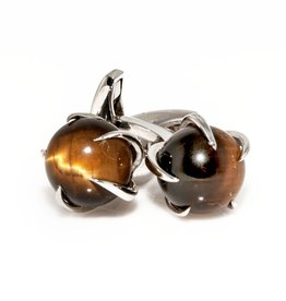 Tiger Eye Ball set in 925 Sterling Silver Claw Cufflinks