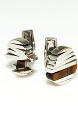 Spining Cufflinks Tiger Eye in 925 Sterling Silver