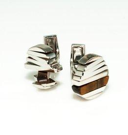 Spining Cufflinks Tiger Eye in 925 Sterling Silver