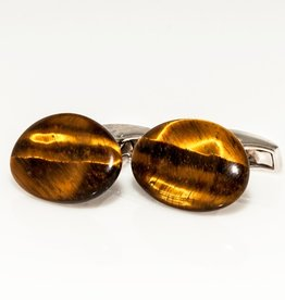 Carved Tiger Eye Pebble with Silver