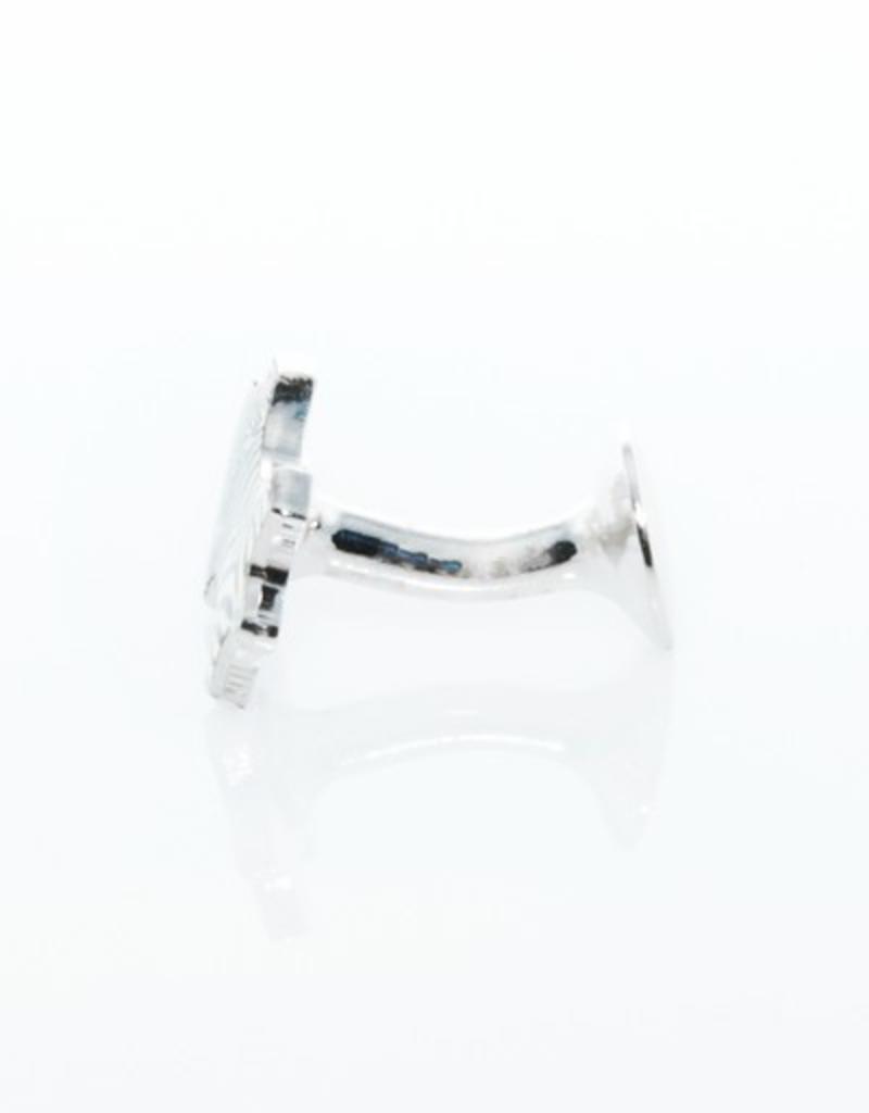 Zebra Enameled Cufflinks Silver
