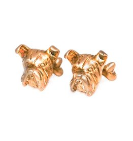 Brushed gold plated boxer dog head cufflinks