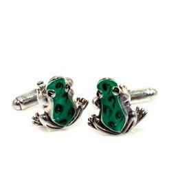 Green frogs cufflinks