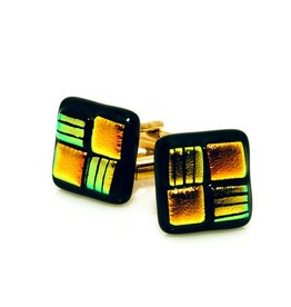 Lime green & Orange Murano Glass Cufflinks