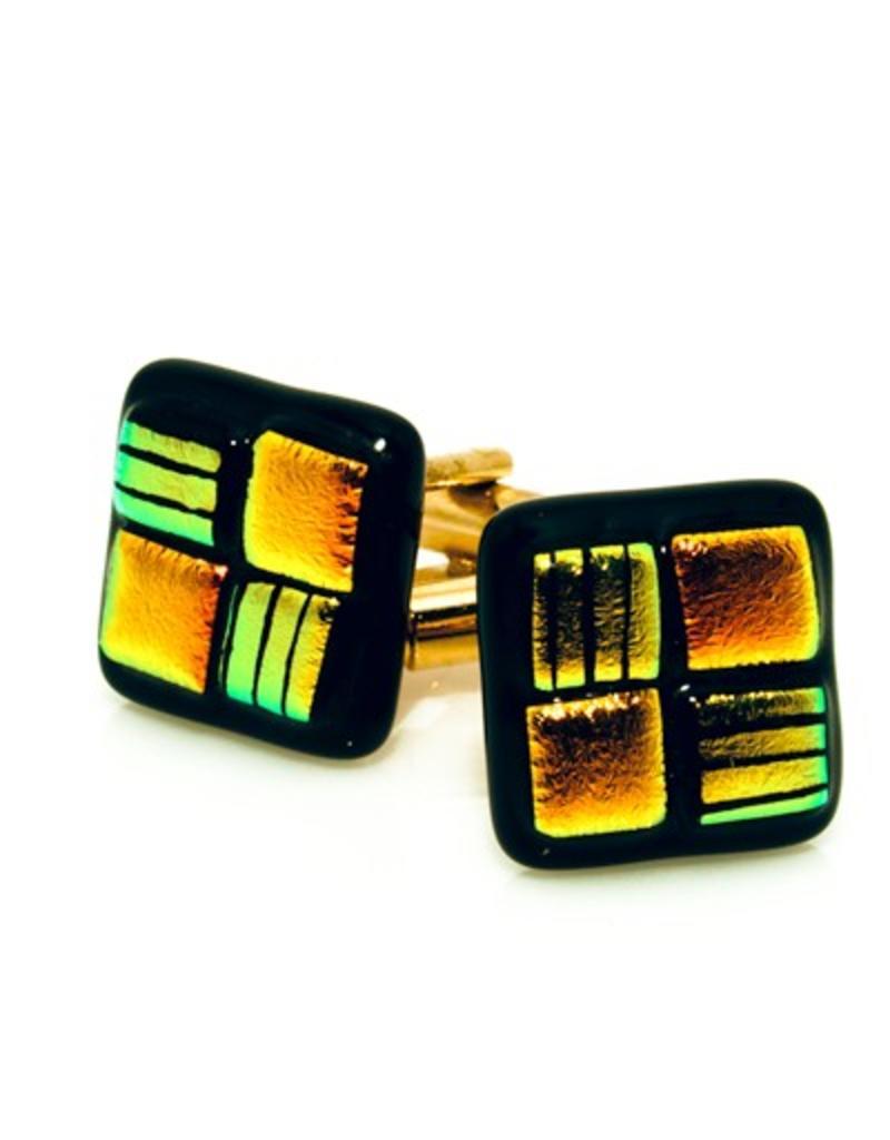 Lime green & Orange Murano Glass Cufflinks