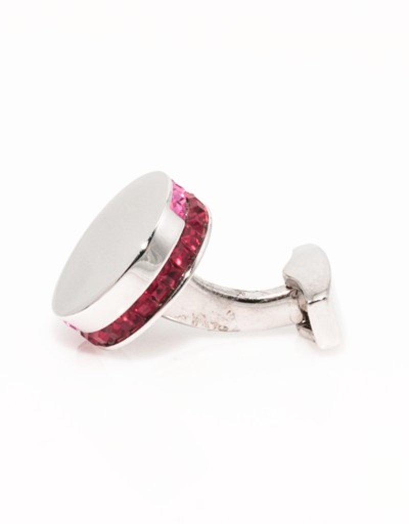 Red & Pink Swarovski Disc Cufflinks