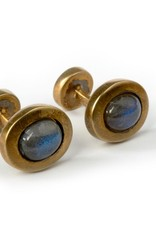 Gold plated, Labradorite oval cufflinks