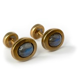 Gold plated, Labradorite oval cufflinks