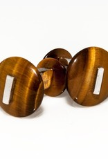 Tiger Eye Button set in 925 Sterling Silver Cufflinks