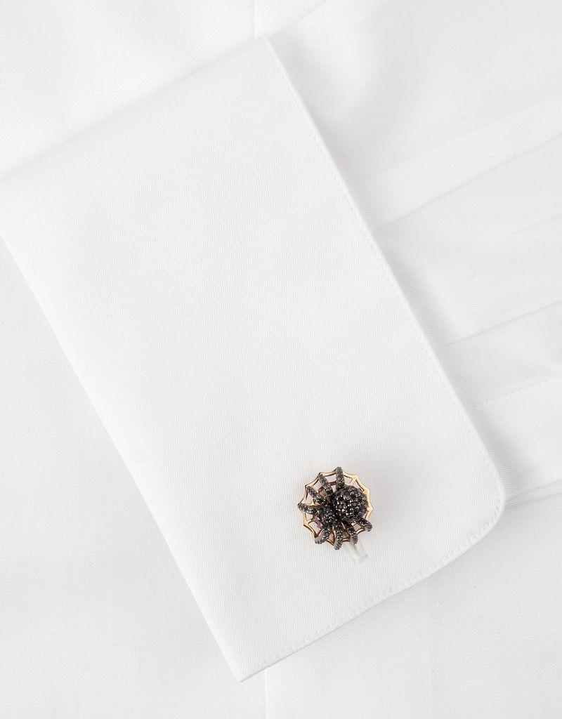 Sterling Silver Black Spiel Micro pave Spider Cufflinks with Rose Gold plated web