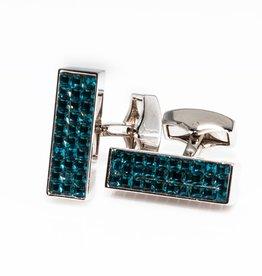 Blue Swarovski & Teal Enamel Cufflinks