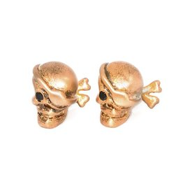Brushed gold plated pirate skull cufflinks