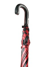 Black and Red Striped Umbrella with Black Leather Handle and Red Contrast Hand Stitiching