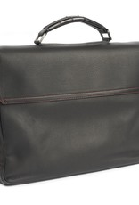 Black Deerskin Briefcase with Alligator Accents and Red Stitching