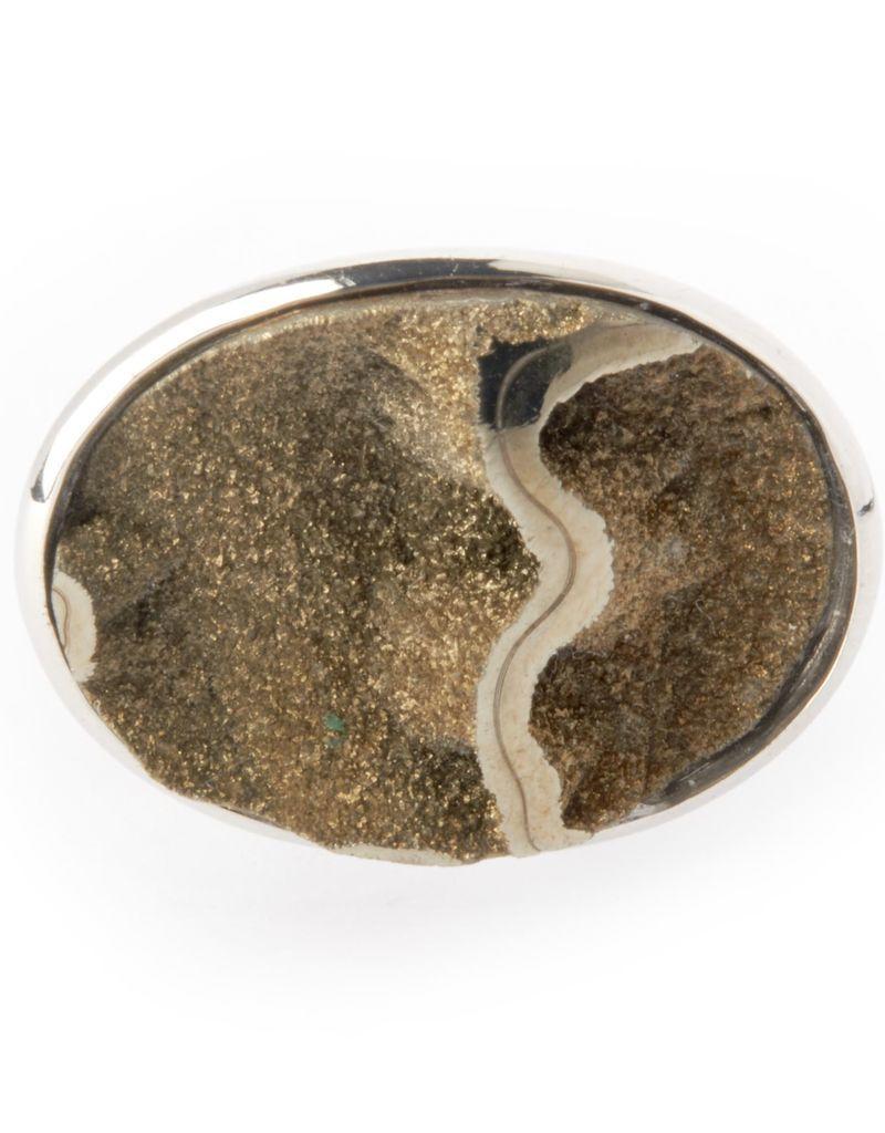 Silver Oval Drusy Cufflinks