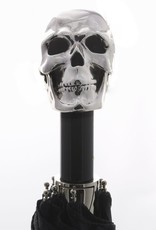 Black Compact Umbrella with Skull Handle