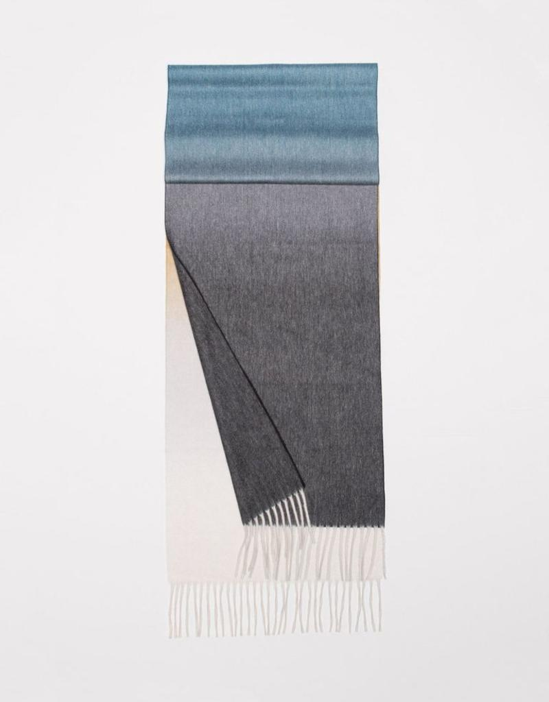 Classic Cashmere Scarf, Brown & Steel blue Ombre
