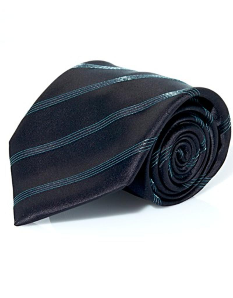 Black Silk Tie with Aqua Lamé Stripe
