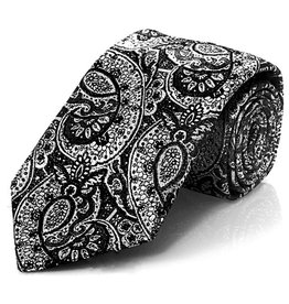 Black TIe with Silver Lamé Paisley