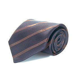 Black Silk Tie with Copper Lamé Stripe