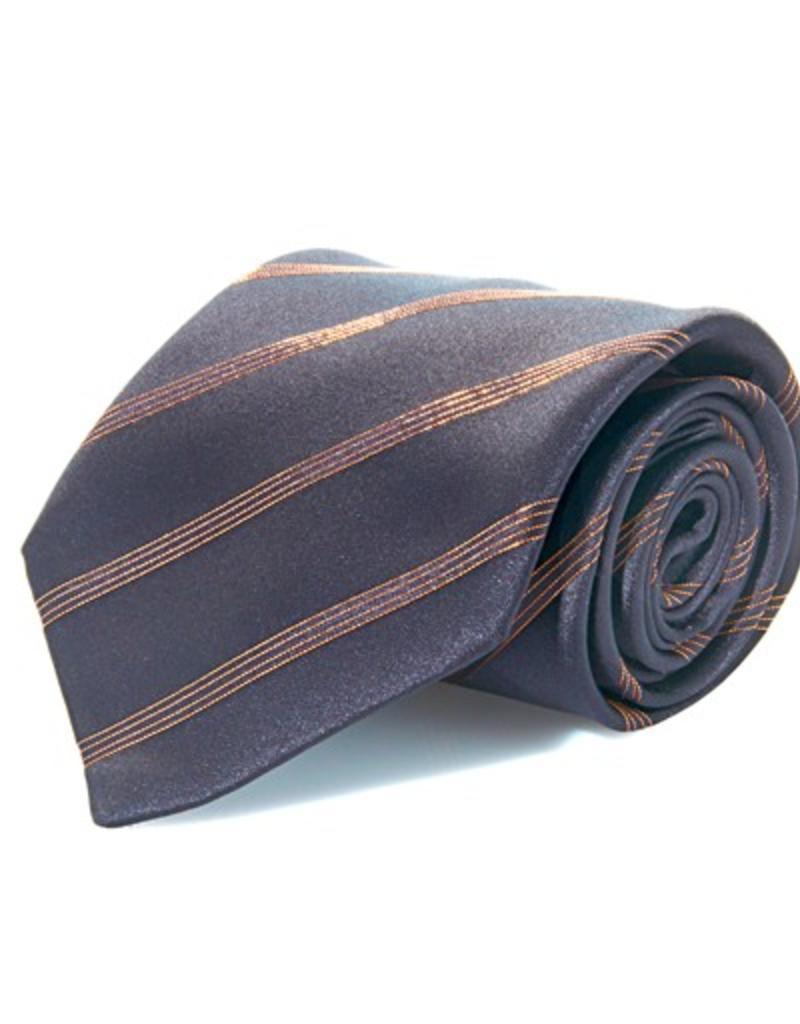 Black Silk Tie with Copper Lamé Stripe