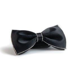 Black Bowtie with White Swarovki Crystals